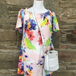Trina Turk off the shoulder dress for a Spring